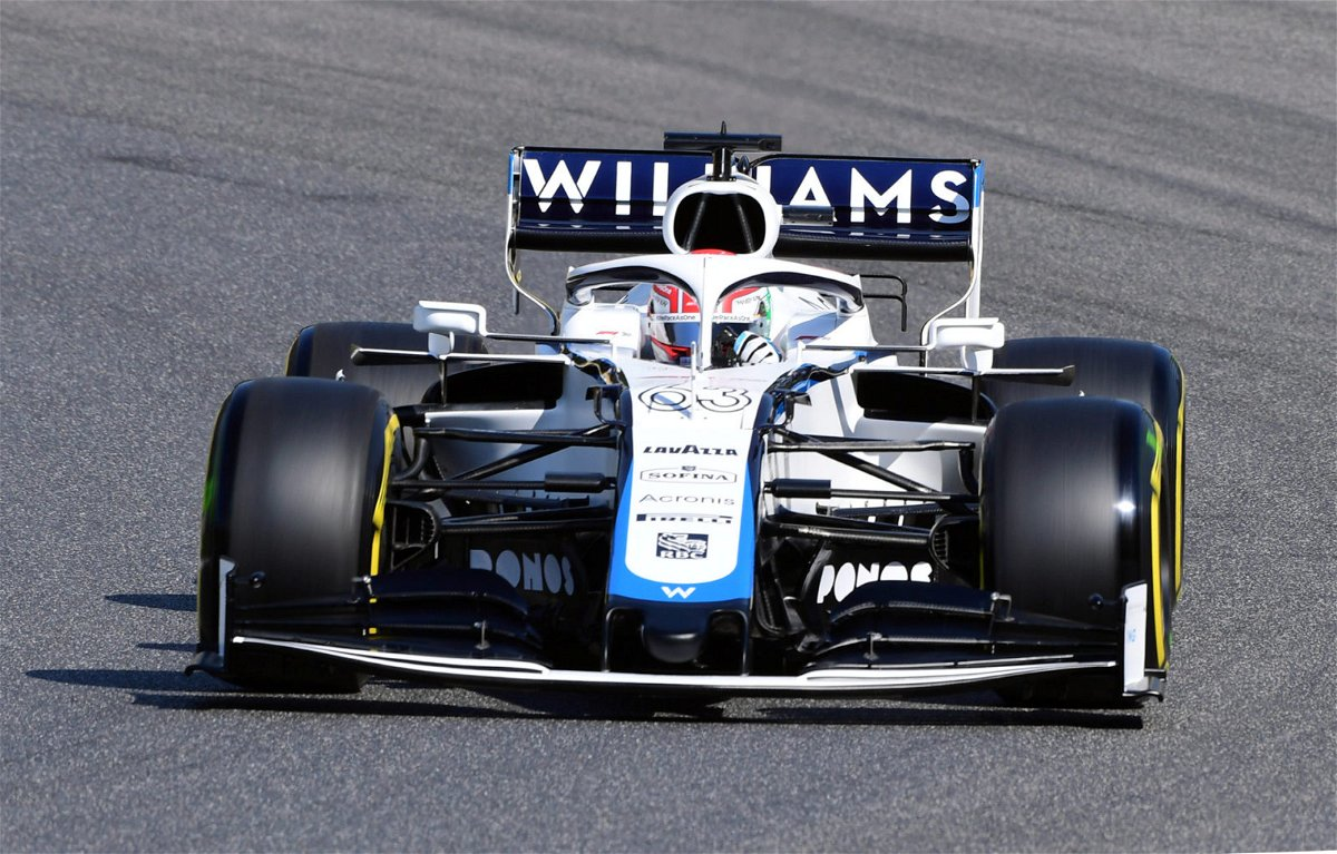 Williams driver George Russell in acytion during practice at Mugello