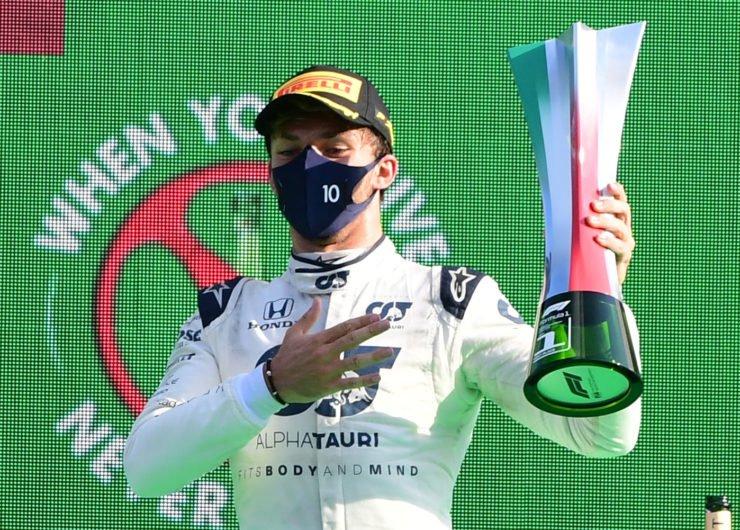 皮埃尔·盖斯利赢得了意大利大奖赛后带来
