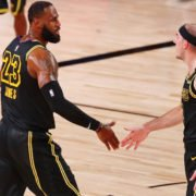 Lakers' LeBron James and Alex Caruso against Houston Rockets