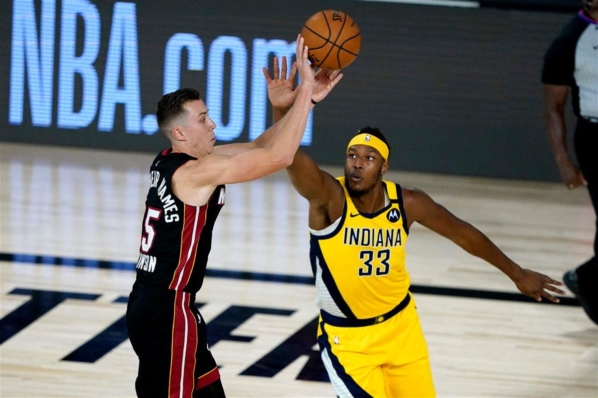 Miami Heat guard Duncan Robinson attempts a shot against the Indiana Pacers in the 2020 NBA Playoffs