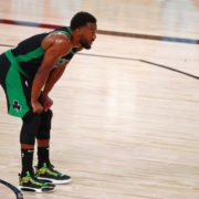 Boston Celtics guard Kemba Walker takes a breather during Game 2 of the 2020 ECF against the Miami Heat