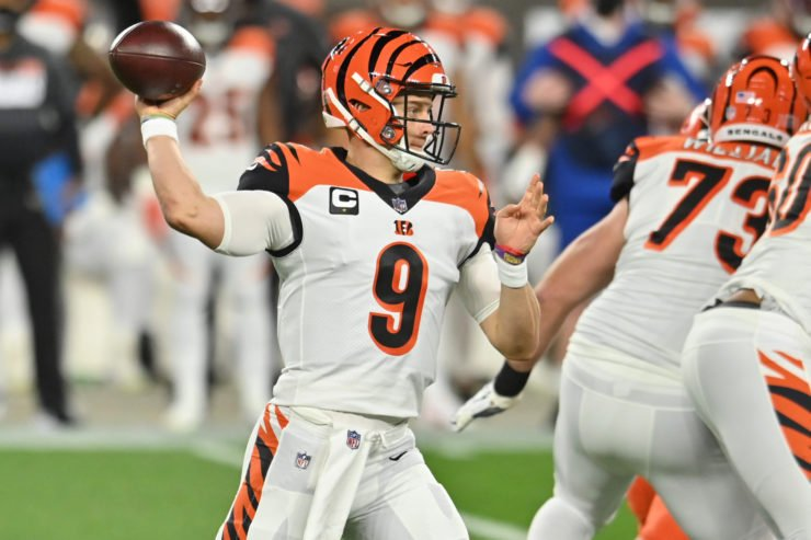 Joe Burrow makes a pass attempt against Cleveland Browns on Thursday