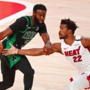 Miami Heat star Jimmy Butler tires to guard Boston Celtics' Jaylen Brown in Game 2 of the NBA Eastern Conference Finals