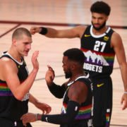 Denver Nuggets vs Utah Jazz: Nikola Jokic with Paul Millsap and Jamal Murray