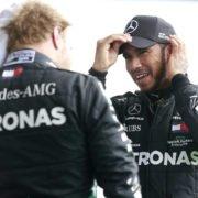Mercedes' Lewis Hamilton and Valtteri Bottas chat after the F1 Belgian Grand Prix