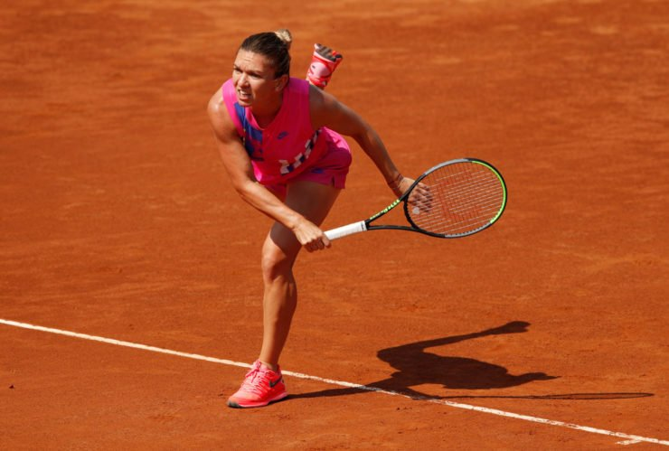 Simona Halep in action at the Italian Open