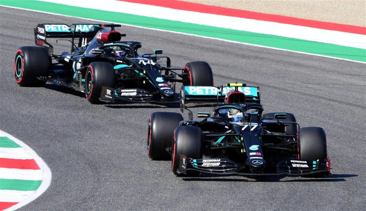 Mercede teammates Lewis Hamilton and Valtteri Bottas duel it out at the front of the grid
