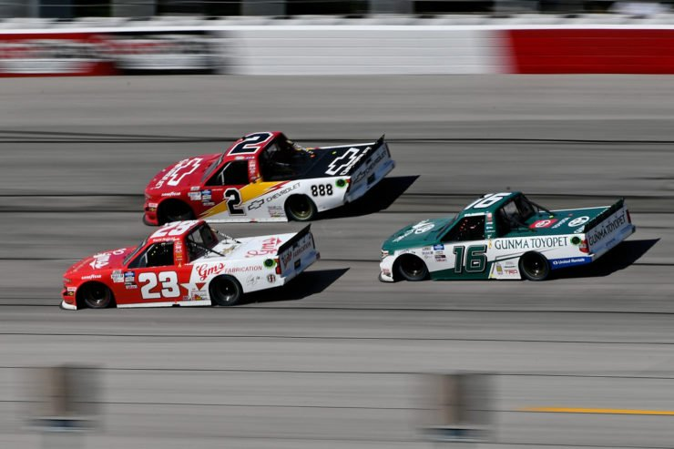 Austin Hill in action in the NASCAR Truck Series race