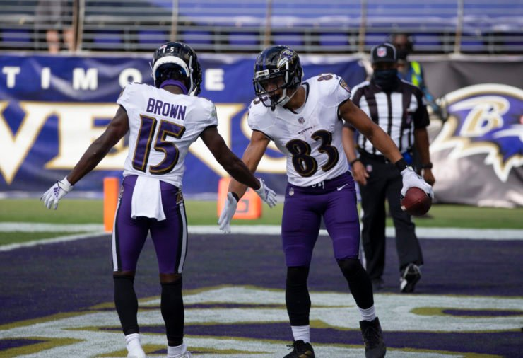 altimore Ravens wide receiver Willie Snead IV (83) celebrates a touchdown with teammate Marquise Brown against Cleveland Browns.