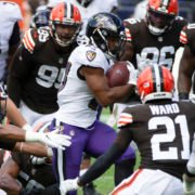 Baltimore Ravens quarterback attempts to make a play in opening week win over Cleveland Browns.