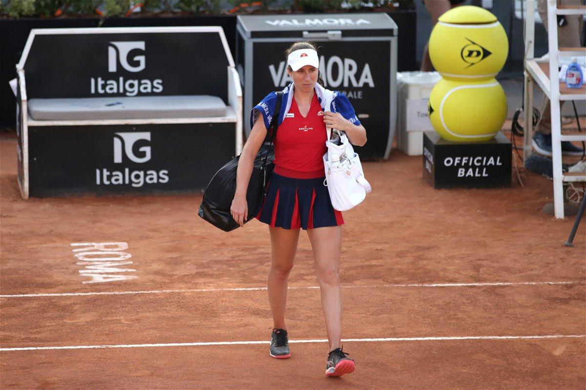 Johanna Konta walks away dejected after her loss in the Italian Open 2020