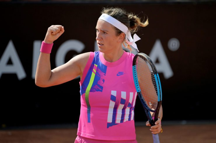 Victoria Azarenka reacts during her match against Venus Williams at the 2020 Italian Open