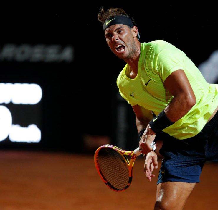 Rafael Nadal in action in the Italian Open 2020