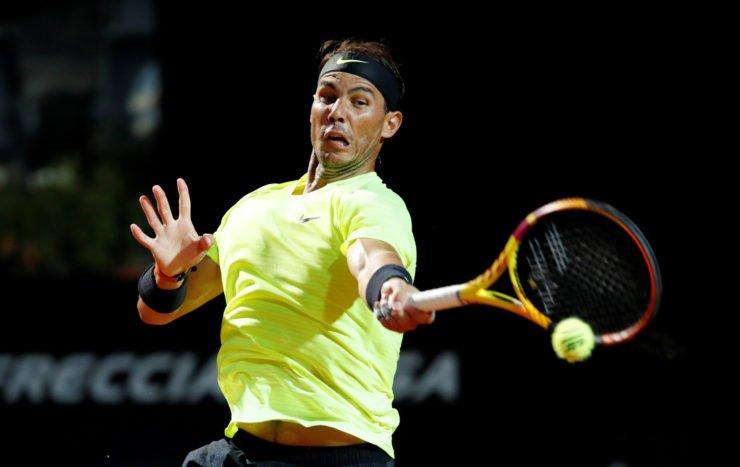 Rafael Nadal returns a shot against Dusan Lajovic in the Italian Open 2020