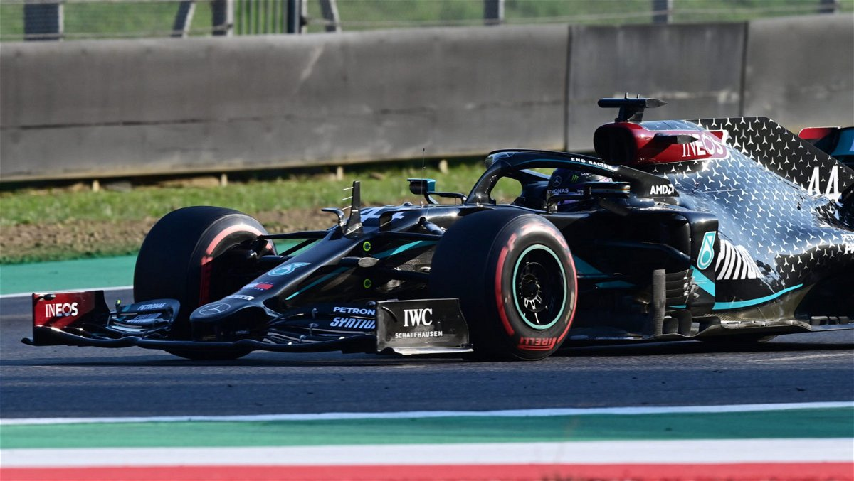 Mercedes driver Lewis Hamilton in action at the Tuscan Grand Prix