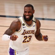 Los Angeles Lakers forward LeBron James reacts during a playoff game against the Houston Rockets