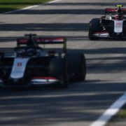 Both Haas F1 cars in action during a practice session prior to the Italian Grand Prix