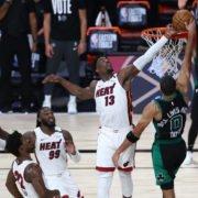 Miami Heat star Bam Adebayo makes a vital block against Boston Celtics forward in Game 1