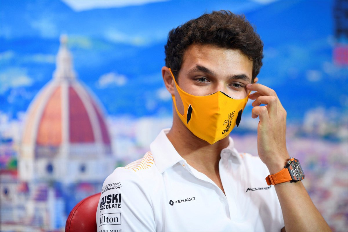 McLaren's Lando Norris at the drivers' press conference ahead of the Tuscan Grand Prix