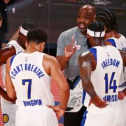 Indiana Pacers head coach Nate McMillan talks with the team at the 2020 NBA Playoffs