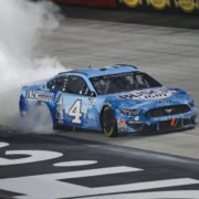 Kevin Harvick celebrates his win in the NASCAR Cup Series race at Bristol