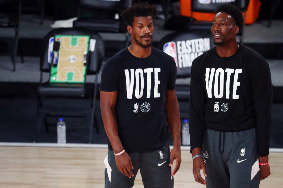 Miami Heat Bam Adebayo and Jimmy Butler