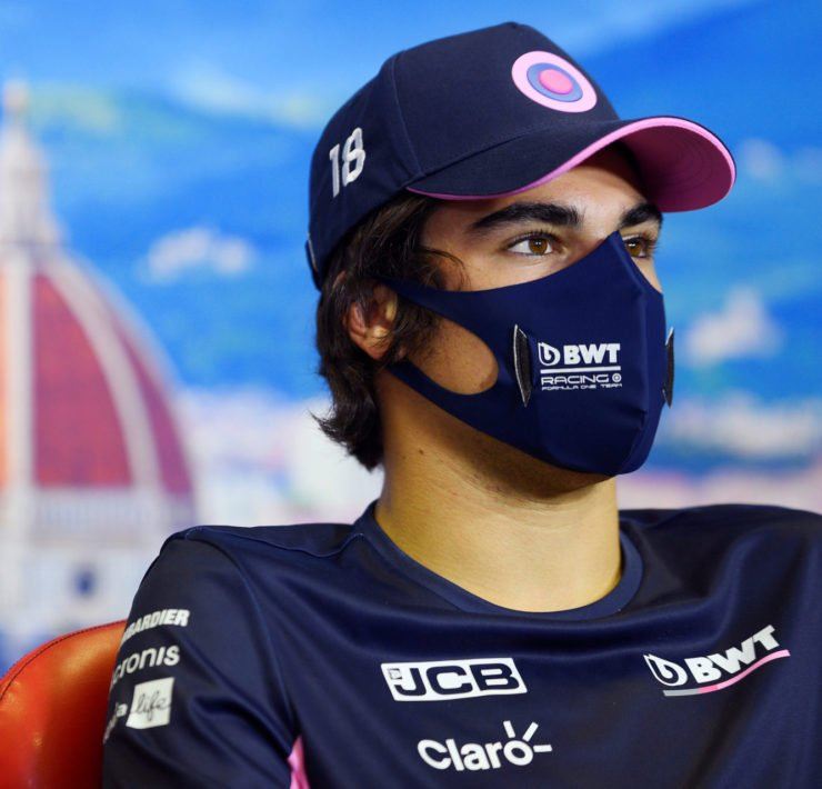 Racing Point's Lance Stroll at a press conference