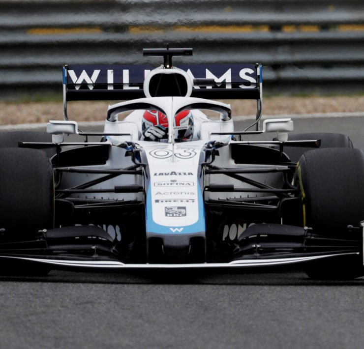 Williams driver George Russell in action during a practuce session prior to the Belgian Grand Prix