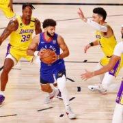 Los Angeles Lakers defending Denver Nuggets star Jamal Murray