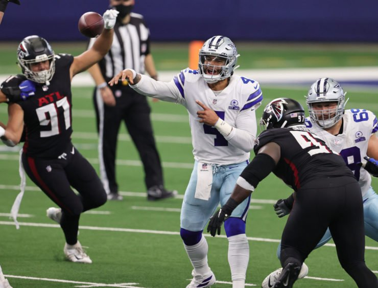 Dallas Cowboys quarterback Dak Prescott attempts a pass against Atlanta Falcons on Sunday night.