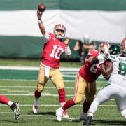 San Francisco 49ers quarterback Jimmy Garoppolo makes a play against New York Jets on Sunday.