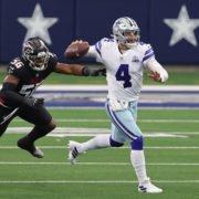 Dallas Cowboys quarterback Dak Prescott throws on the run against Atlanta Falcons in their Week Two Clash on Sunday.