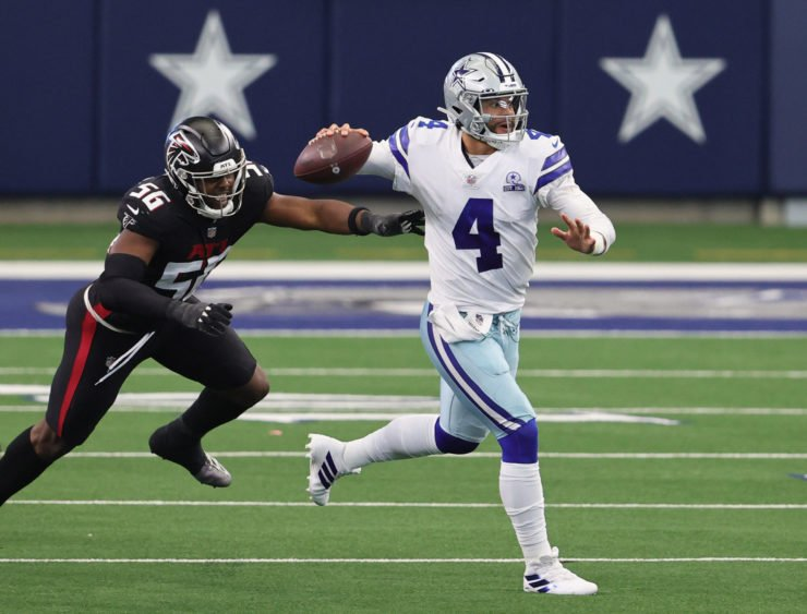 Dallas Cowboys quarterback Dak Prescott throws on the run against Atlanta Falcons in their Week Two Clash on Sunday.