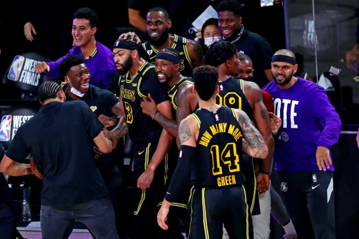 Los Angeles Lakers forward Anthony Davis celebrates after victory against the Denver Nuggets.