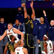 Los Angeles Lakers forward Anthony Davis makes the game winning basket against Denver Nuggets in the 2020 NBA Playoffs