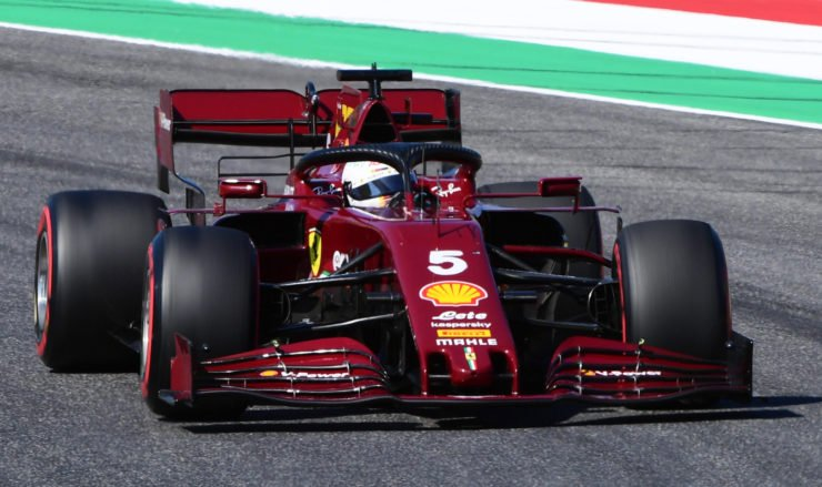 Sebastian Vettel of Ferrari in action at the Tuscan Grand Prix