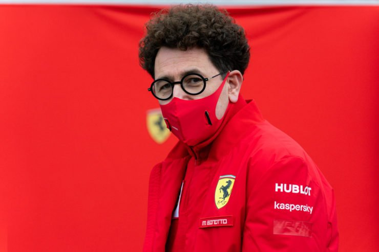 Ferrari boss Mattia Binotto looks on prior to the Belgian Grand Prix