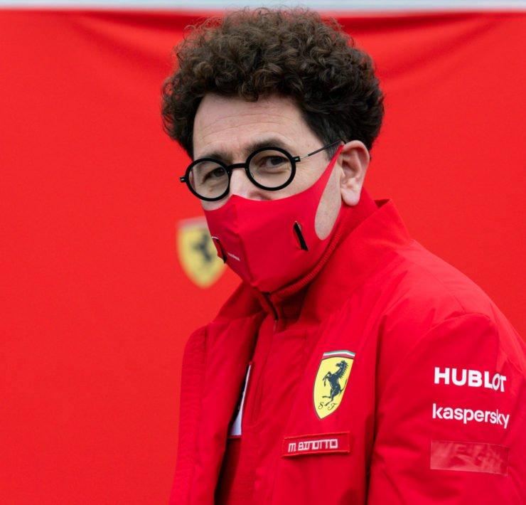 Ferrari boss Mattia Binotto looks on prior to the Belgian Grand Prix