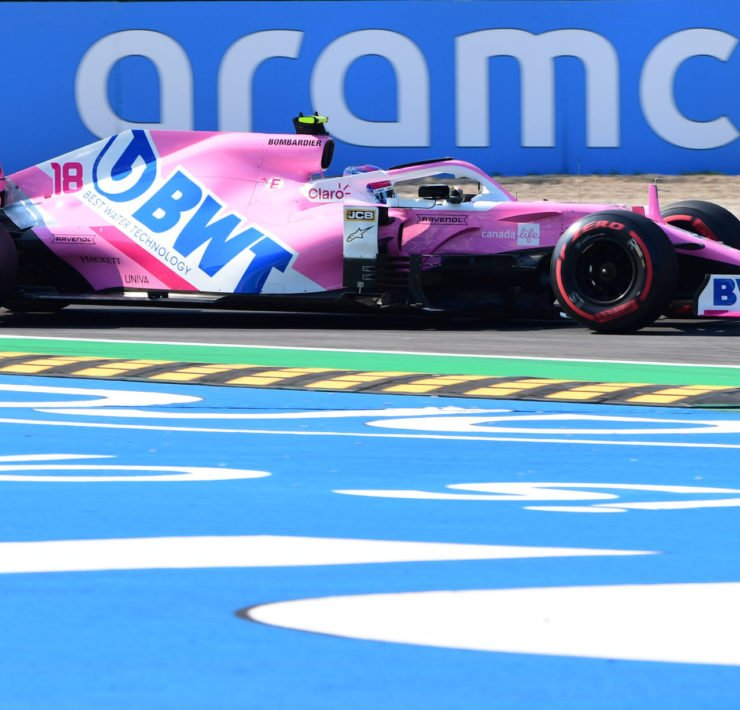 Racing Point driver Lance Stroll in action during a practice session in Monza