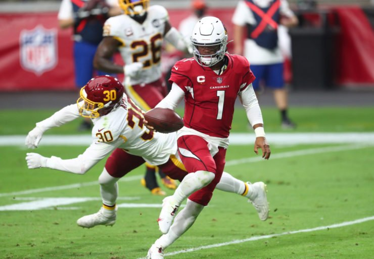 Arizona Cardinals quarterback Kyler Murray completes a rushing touchdown against the Washington Football Team on Sunday.