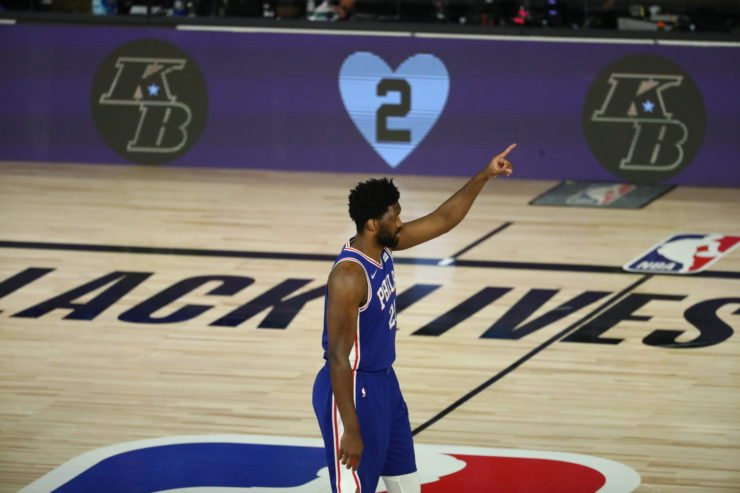 Philadelphia 76ers star Joel Embiid at the 2020 NBA Playoffs