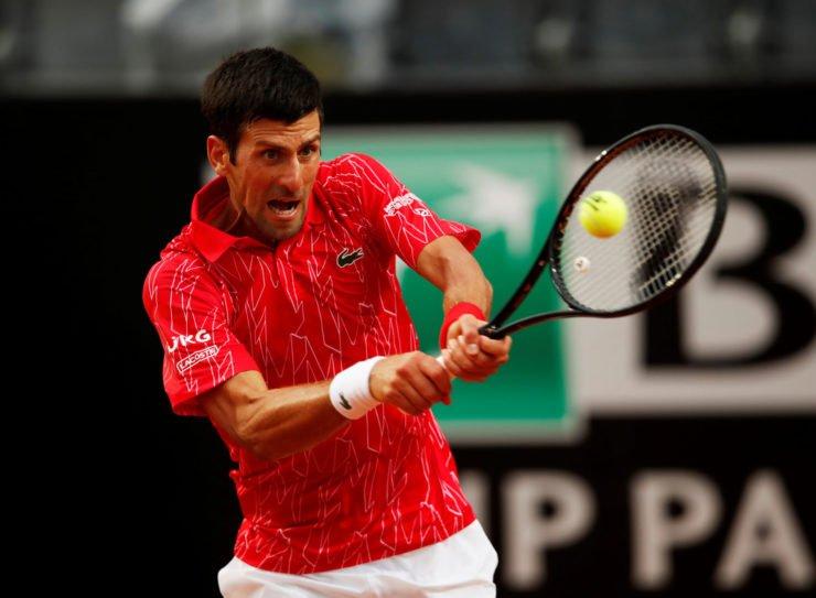 Novak Djokovic in action in the finals of the Italian Open 2020