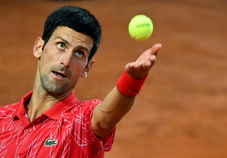 Novak Djokovic focussed before his service in the Italian open 2020 final