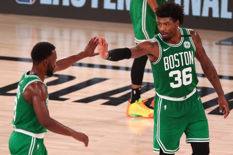 Boston Celtics guard Kemba Walker and guard Marcus Smart