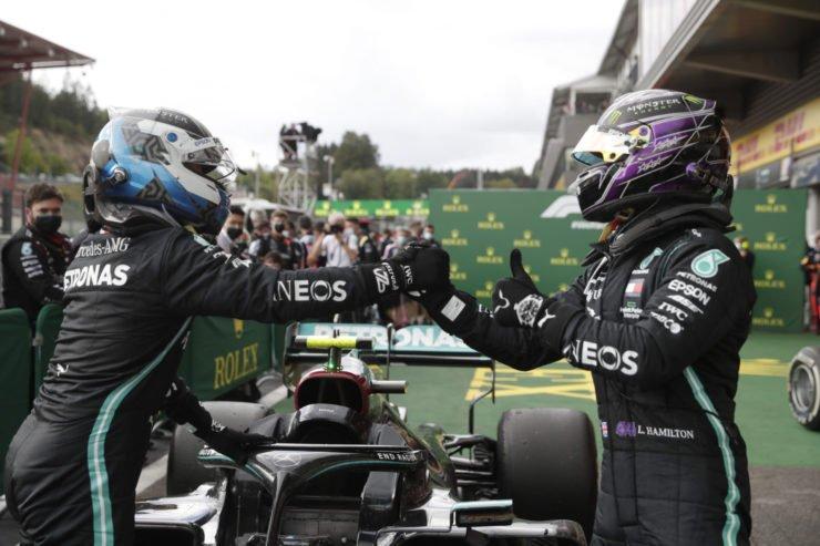 Lewis Hamilton celebrating his win with Valtteri Bottas at Belgian Grand Prix, 2020