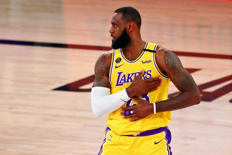 Los Angeles Lakers forward LeBron James after dunking against the Denver Nuggets