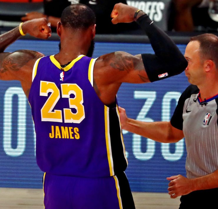 LeBron James celebrates against the Houston Rockets in NBA Playoffs 2020