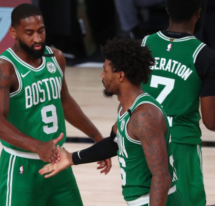 Boston Celtics teammates Marcus Smart and Brad Wanamaker at the 2020 NBA Playoffs