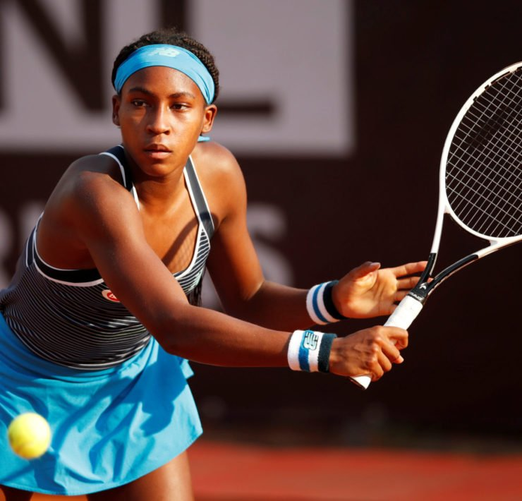 Coco Gauff in action at the 2020 Italian Open