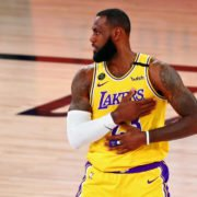NBA star LeBron James reacts in a Playoff game against Denver Nuggets